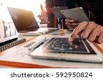 businessman making presentation ... | Shutterstock . vector #592950824