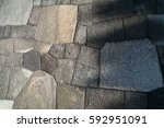 ancient stone wall of japanese... | Shutterstock . vector #592951091