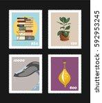 vector postage stamps on black... | Shutterstock .eps vector #592953245
