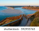 southport beach steps and... | Shutterstock . vector #592955765