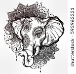 decorative vector elephant with ... | Shutterstock .eps vector #592962221