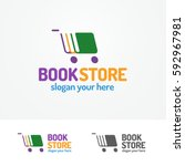 book store logo set consisting... | Shutterstock .eps vector #592967981