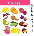 exotic fruits of dragon fruit ... | Shutterstock .eps vector #592978301