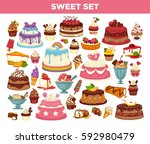 desserts set of cupcakes  pies... | Shutterstock .eps vector #592980479