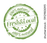 fresh local 100  natural grunge ... | Shutterstock .eps vector #592983095