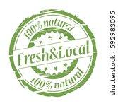 fresh local 100  natural grunge ... | Shutterstock .eps vector #592983095