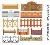 gates  house fences of metal... | Shutterstock .eps vector #592988735