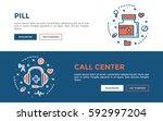 doodle web banners vector... | Shutterstock .eps vector #592997204