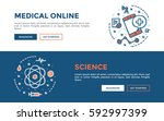 doodle web banners vector... | Shutterstock .eps vector #592997399