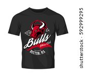 vintage american furious bull... | Shutterstock .eps vector #592999295