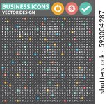 business icon set clean vector | Shutterstock .eps vector #593004287