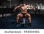 athlete muscular bodybuilder... | Shutterstock . vector #593004581