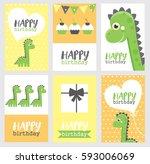 set of six fun birthday card... | Shutterstock .eps vector #593006069