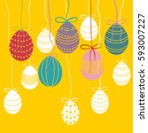 vector easter background with... | Shutterstock .eps vector #593007227