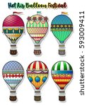 vector hot air balloon... | Shutterstock .eps vector #593009411