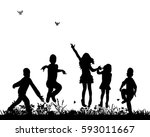 vector silhouette of group of... | Shutterstock .eps vector #593011667