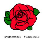 flower rose  red buds and green ... | Shutterstock .eps vector #593016011