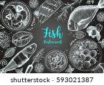 vintage seafood frame vector... | Shutterstock .eps vector #593021387