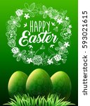 happy easter. green grass and... | Shutterstock .eps vector #593021615