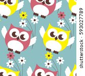 owl seamless pattern. surface... | Shutterstock .eps vector #593027789