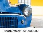 Lighting Of Blue Antique Car.