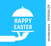 happy easter text like white... | Shutterstock .eps vector #593036129