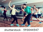 dancing happy couples learning... | Shutterstock . vector #593044547