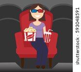 young woman in cinema | Shutterstock .eps vector #593048591