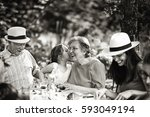 three generations family having ... | Shutterstock . vector #593049194