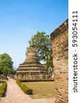 unesco world heritage sukhothai ... | Shutterstock . vector #593054111