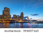 beautiful moment of downtown... | Shutterstock . vector #593057165