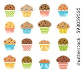 vector flat icons of chocolate... | Shutterstock .eps vector #593059535