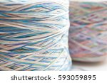 the blue and red sewing spools | Shutterstock . vector #593059895