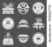 set of barbecue in monochrome... | Shutterstock .eps vector #593063774