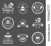set of barbecue in monochrome... | Shutterstock .eps vector #593063777