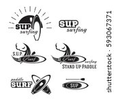 stand up paddle. sup surfing... | Shutterstock .eps vector #593067371