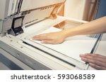 woman hands putting a sheet of...   Shutterstock . vector #593068589