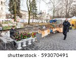 vilnius  lithuania   march 4 ... | Shutterstock . vector #593070491