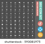 seo development icon set clean... | Shutterstock .eps vector #593081975