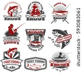 set of trout fishing emblems...   Shutterstock .eps vector #593083061