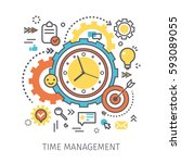 concept of time management.... | Shutterstock .eps vector #593089055