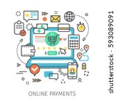concept of online payments.... | Shutterstock .eps vector #593089091