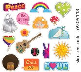 collection of peace and love... | Shutterstock .eps vector #59309113