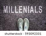 text millenials written on... | Shutterstock . vector #593092331