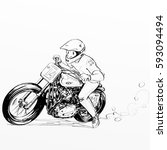 boy riding motorcycle | Shutterstock . vector #593094494