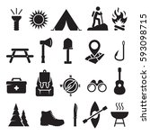 camping icons set. black on a... | Shutterstock .eps vector #593098715
