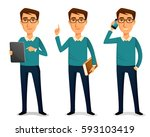 funny cartoon guy in casual... | Shutterstock .eps vector #593103419