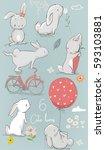 Stock vector  cute cartoon hares 593103881