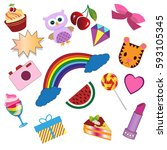 stickers  rainbow  diamond bow  ... | Shutterstock .eps vector #593105345