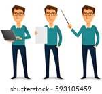 funny cartoon guy in casual... | Shutterstock .eps vector #593105459